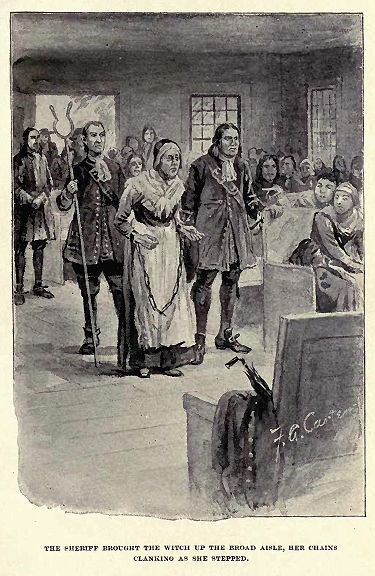 Salem witch trials: accused witch Rebecca Nurse is held in chains before the court