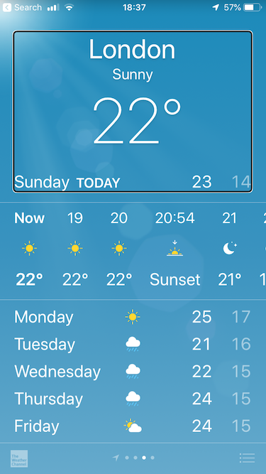 Apple's Weather app with VoiceOver highlighting the top Summary Element.