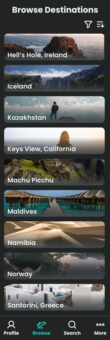 The Browse Destinations screen for the Wayfarer mobile app