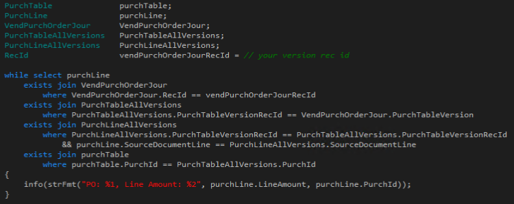 How to get Purchase Order version specific lines using X++