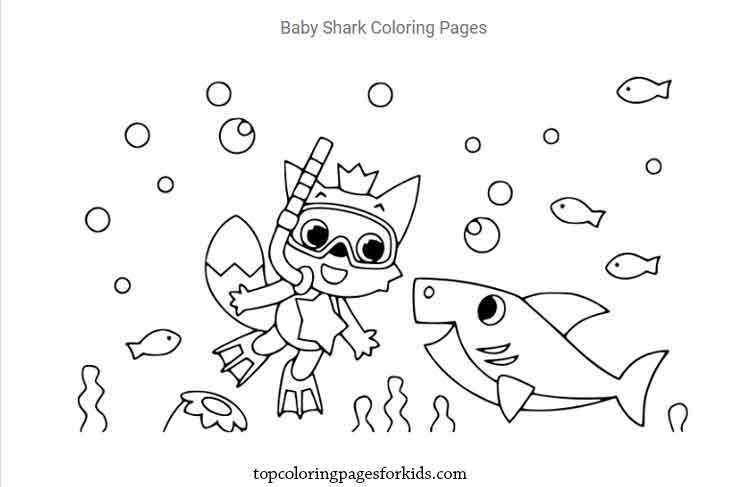 12 Free Printable Baby Shark Coloring Pages For Kids By Topcoloringpagesforkids Medium