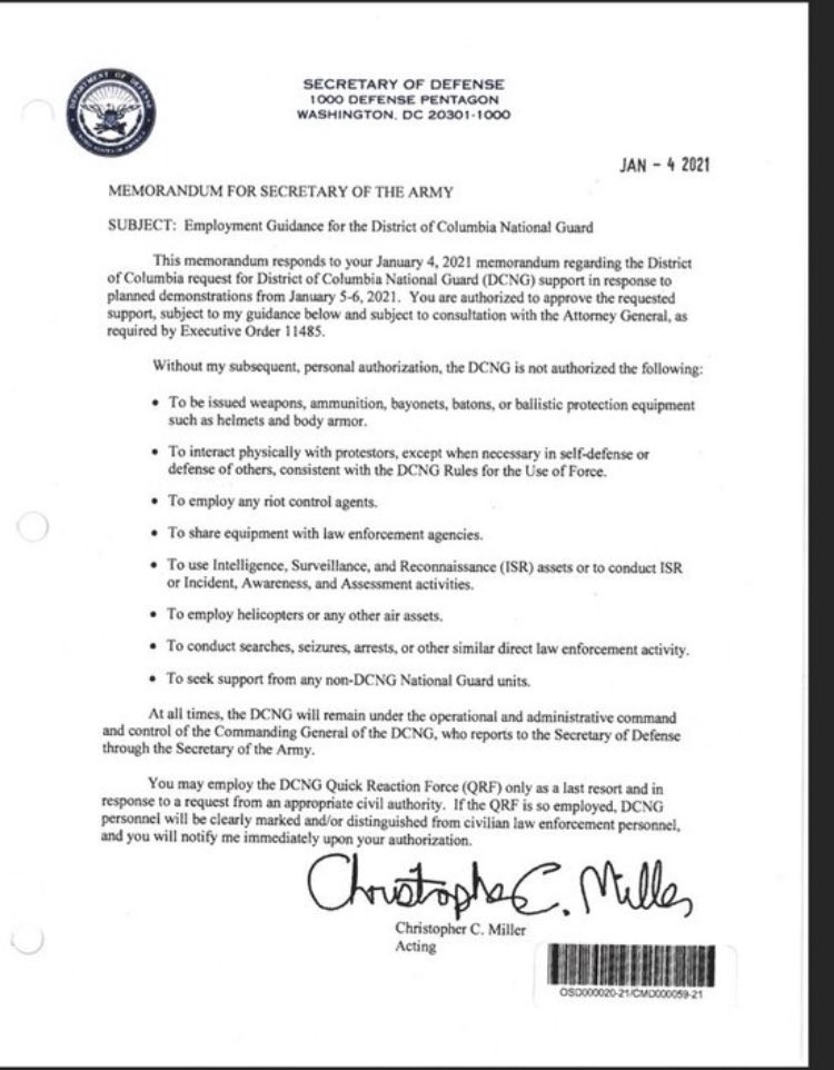 Jan 4 letter from the Acting Secretary of Defense