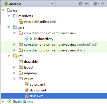 Tutorial for displaying a website in an Andriod app using a