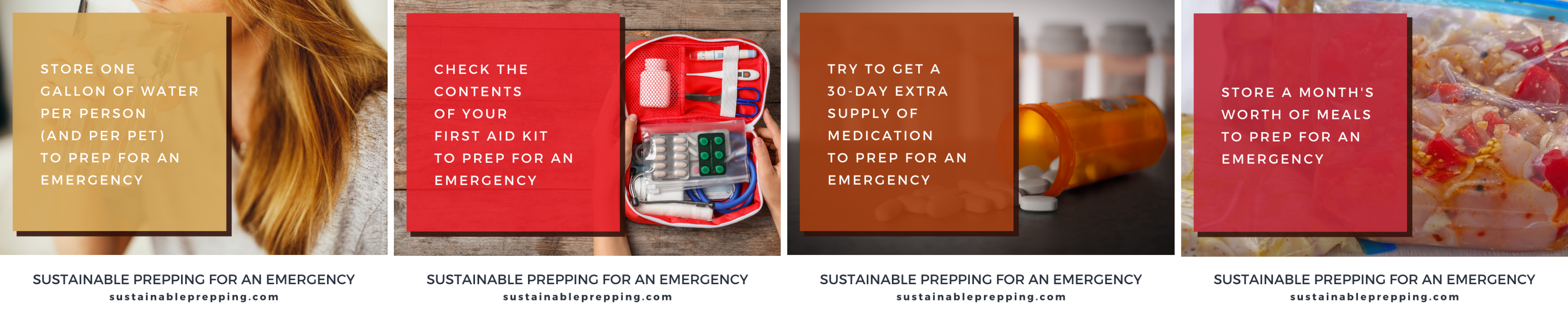 4 examples of social media graphics about prepping for emergencies
