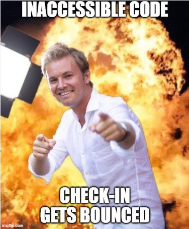 """Man standing in front of fireball with the following text """"Inaccessible Code? Checkin gets bounced."""""""