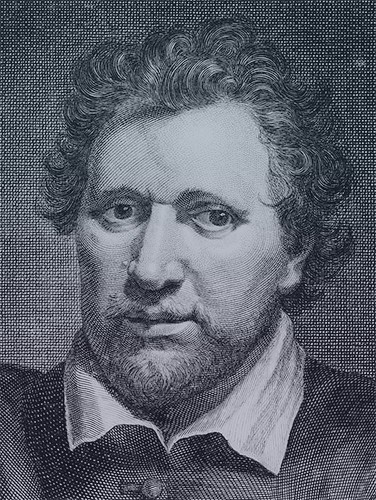 Engraving of the poet Ben Jonson. He has medium-length curly hair, thin eyebrows, and puffy cheeks.