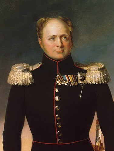 Alexander I in a black military uniform with golden epaulets, golden buttons, and numerous awards pinned to his chest.