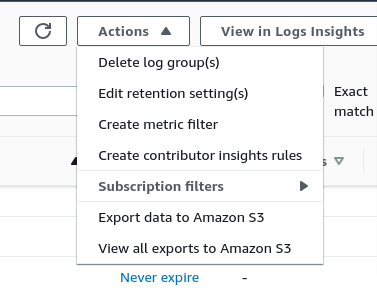 Actions menu option in AWS Cloudwatch logs