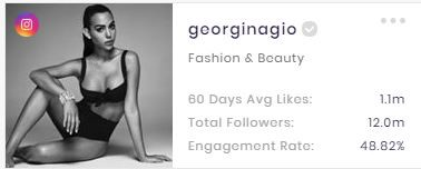 The basic channel stats of Georgina. (data from SocialBook)