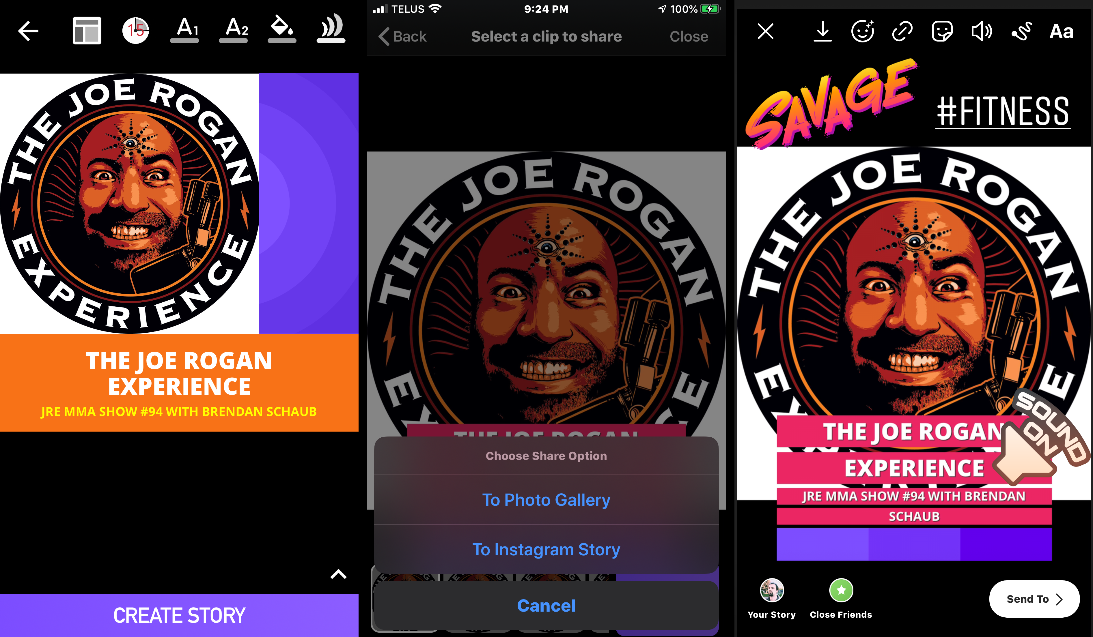 Podcast Video Maker—the share screen lets you share straight to Instagram stories or to the gallery.