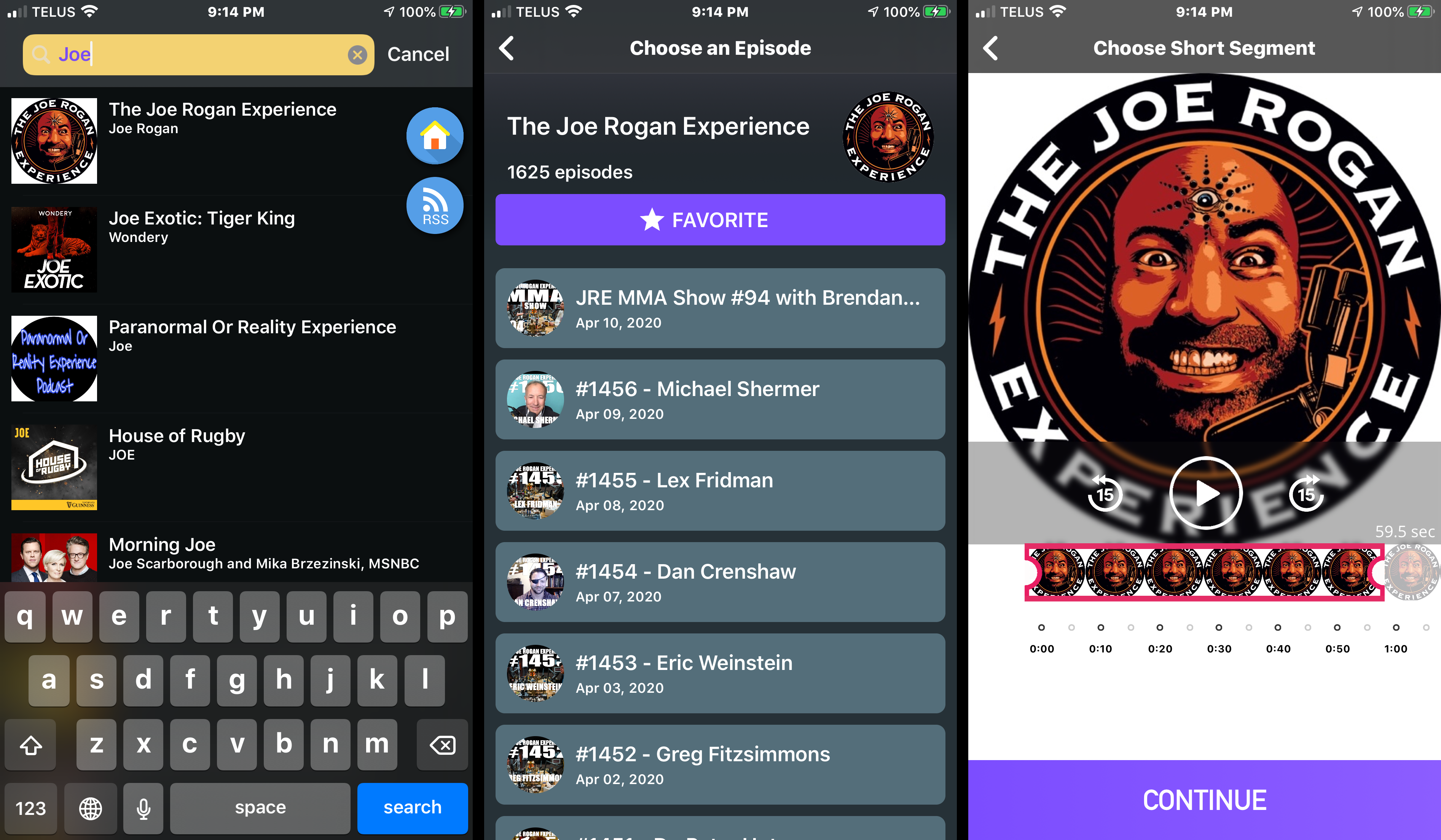 Podcast Video Maker—find a podcast, browse episodes, listen and trim screen. Choose a short clip to share.