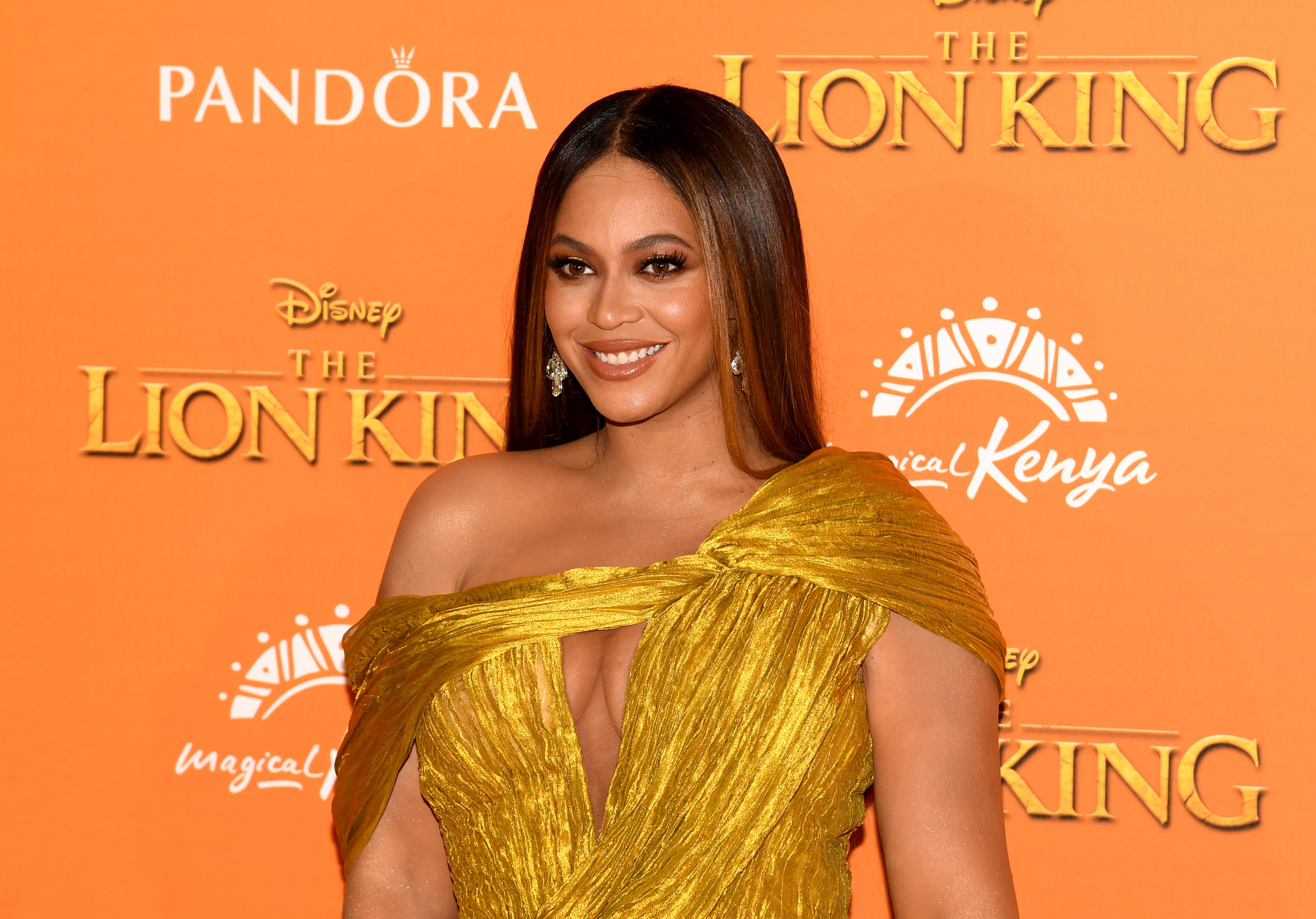 """A photo of Beyonce at the London red carpet for """"Lion King."""""""