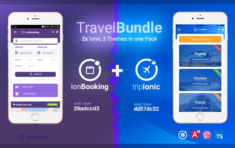 Travel Bundle — Ionic 3 ionBooking and tripIonic Themes