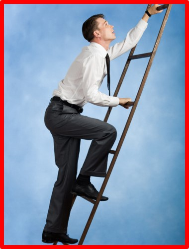 This modern day manager is climbing the ladder - alone.