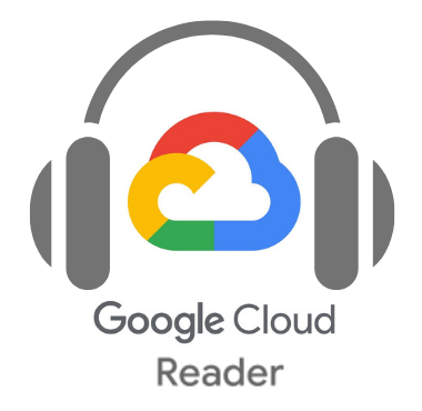"""Google's multicolored cloud icon rests between the pads of two over-ear headphones, with the words """"Google Cloud Reader"""" beneath"""