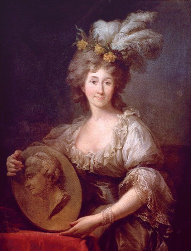 Dorothea von Medem painted in a low-necked muslin dress, powdered wig, and feathers in her hair.