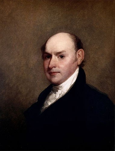 John Quincy Adams in a black suit and white cravat. His dark brown hair has receded, leaving him almost bald.