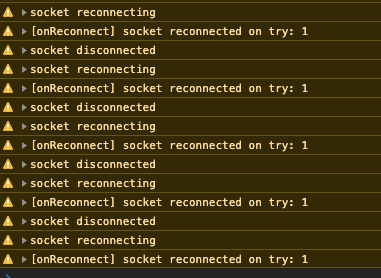 You'll see something like this happen maybe every few seconds depending on your client-server websocket ping settings.