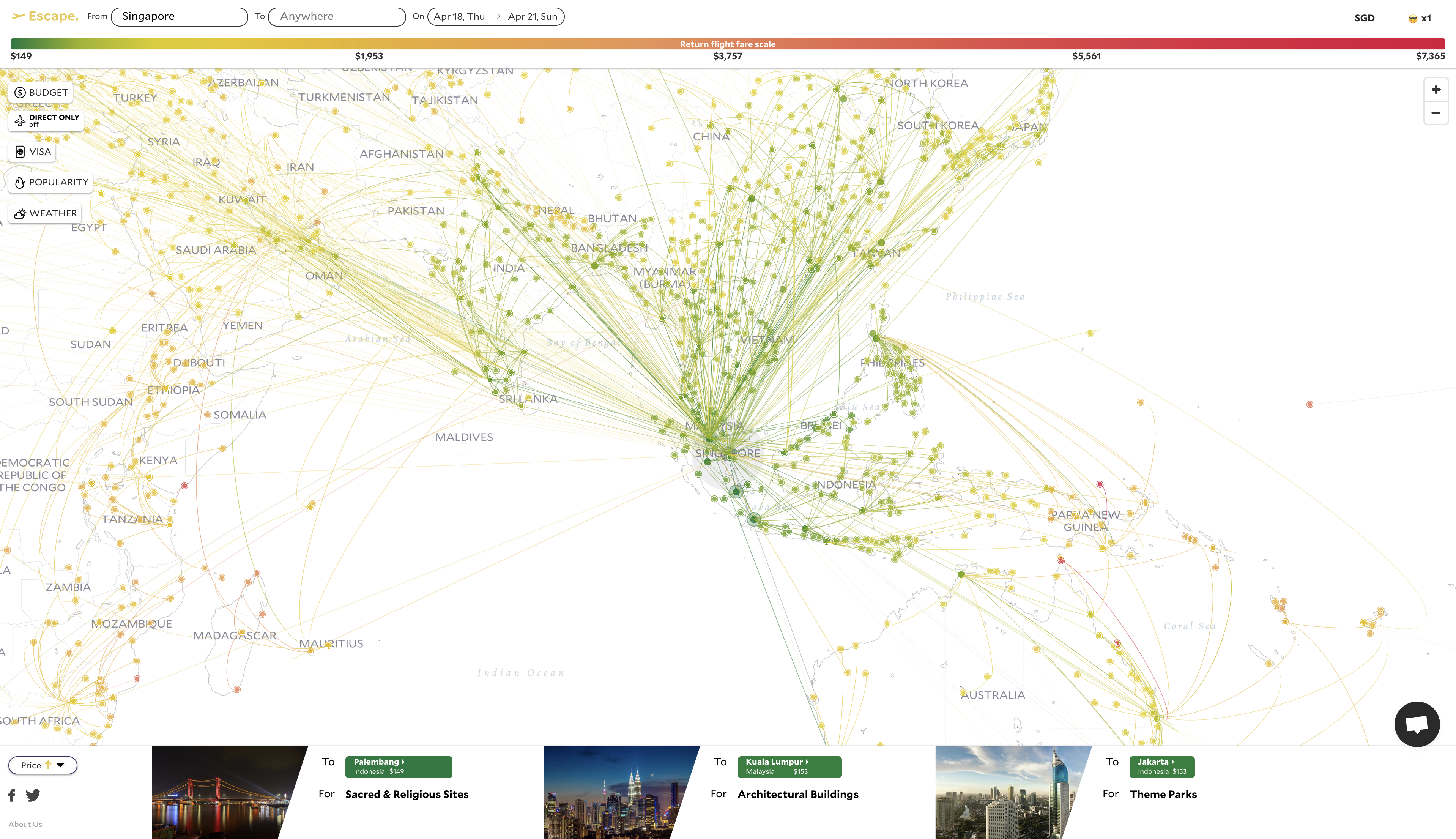 We created a visualization tool for cheapest flights in the ...