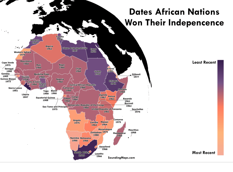 Africa Nations Map.African Nations Independence Dates Sounding Maps Adam