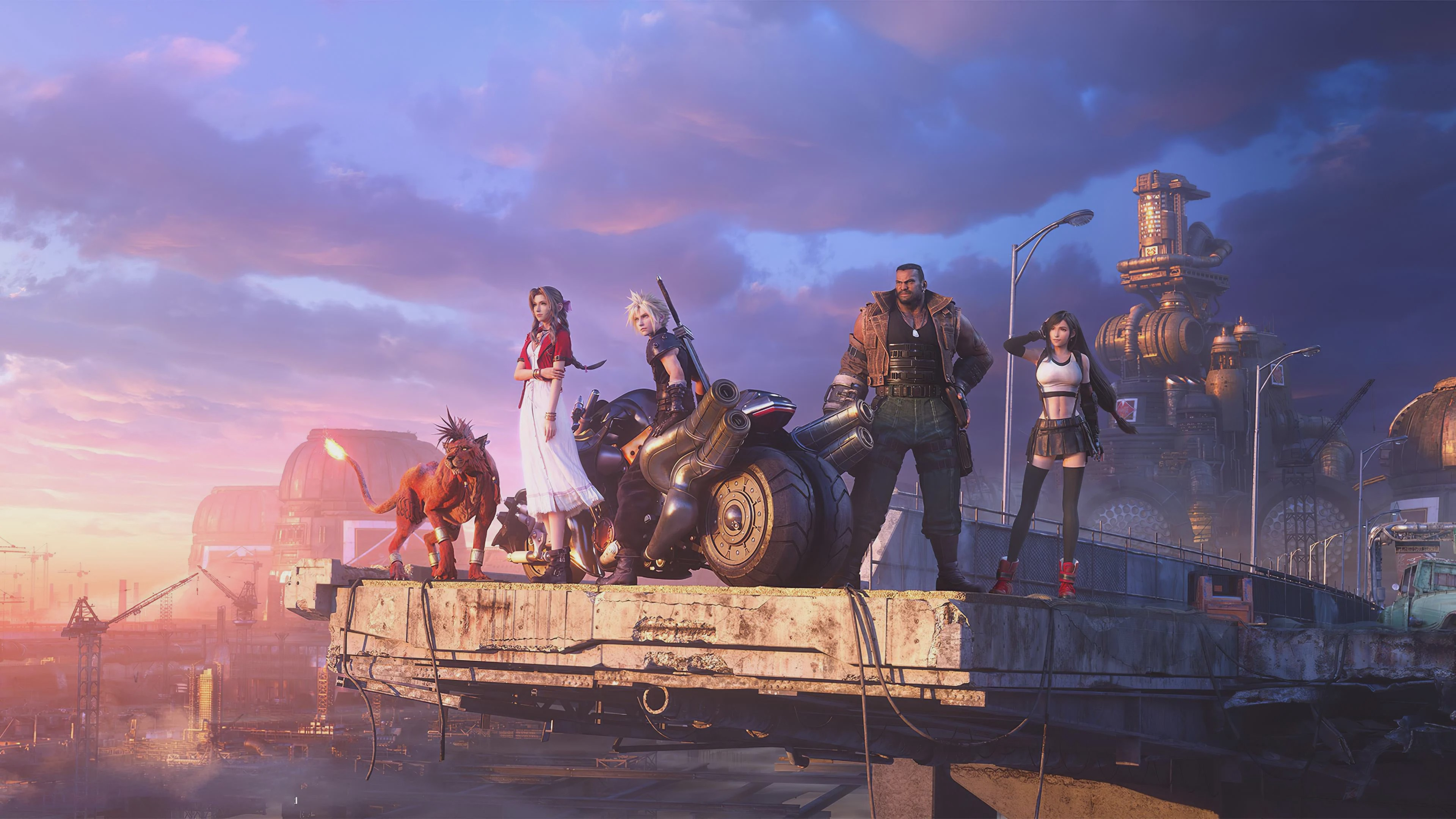 The cast of Final Fantasy VII remake standing in the city outskirts with a motorcycle.