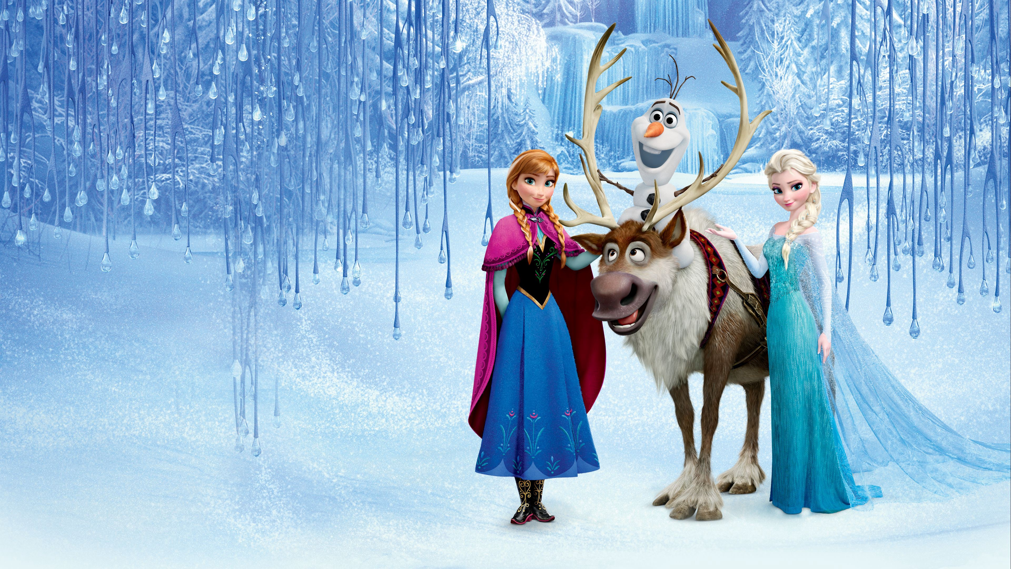 "Anna, Elsa, Olaf and Sven in ""Frozen"""