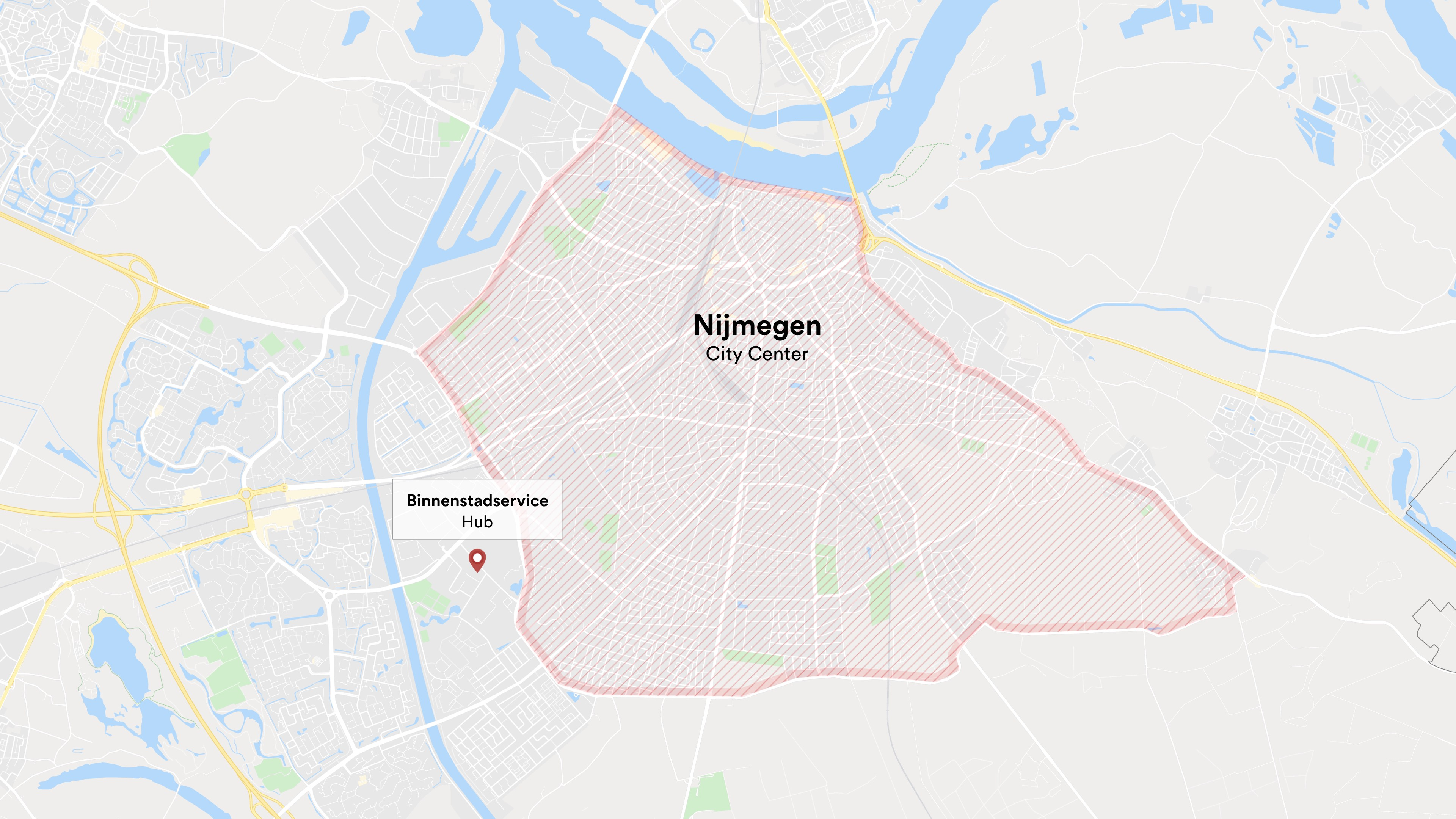 A map showing the location of the Binnenstadservice hub at the perimeter of Nijmegen.