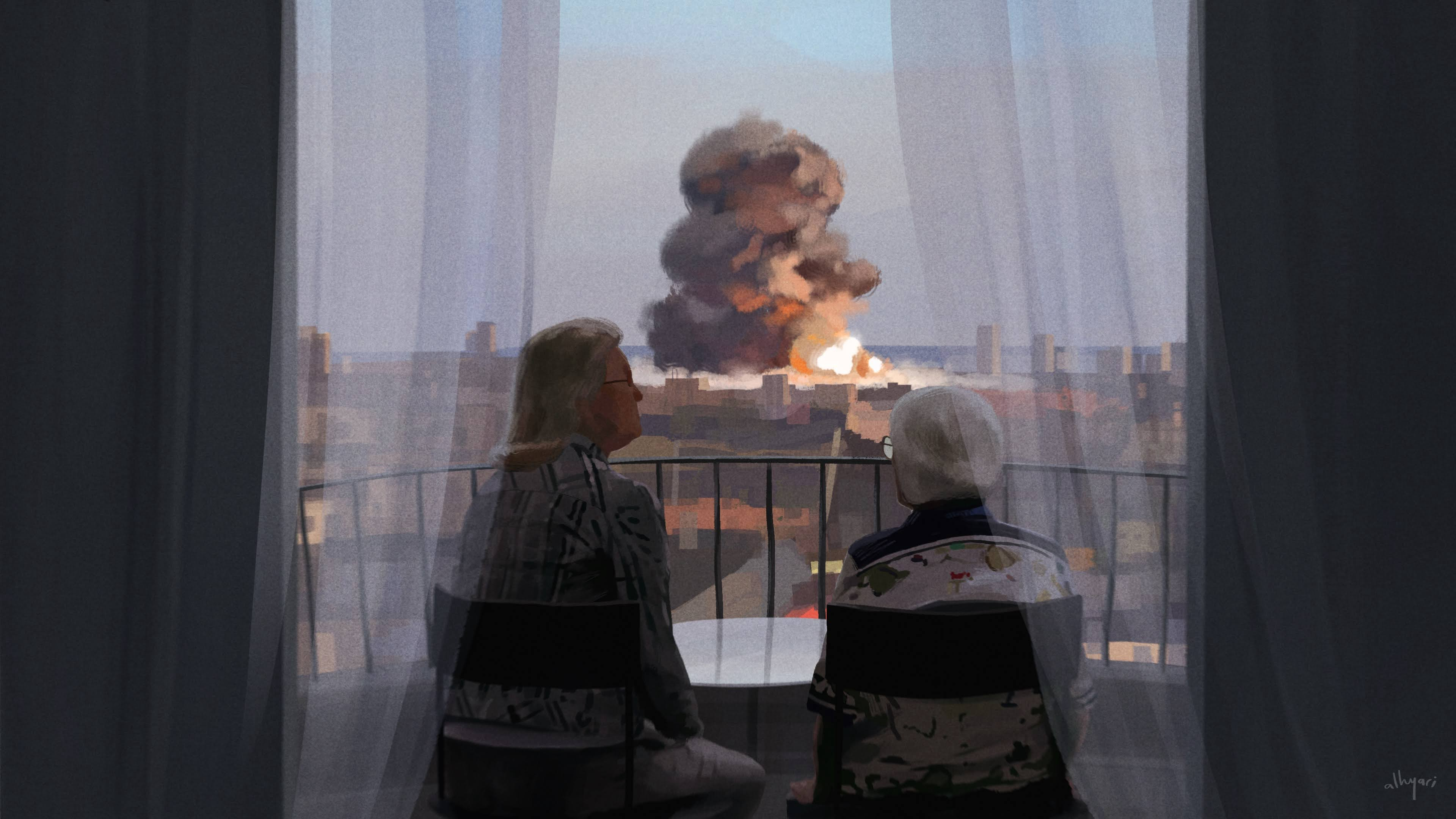 Two women chatting uniterrupted by the big explosion nearby. Inspired by Beirut explosion. Digital painting by Alhyari Art.