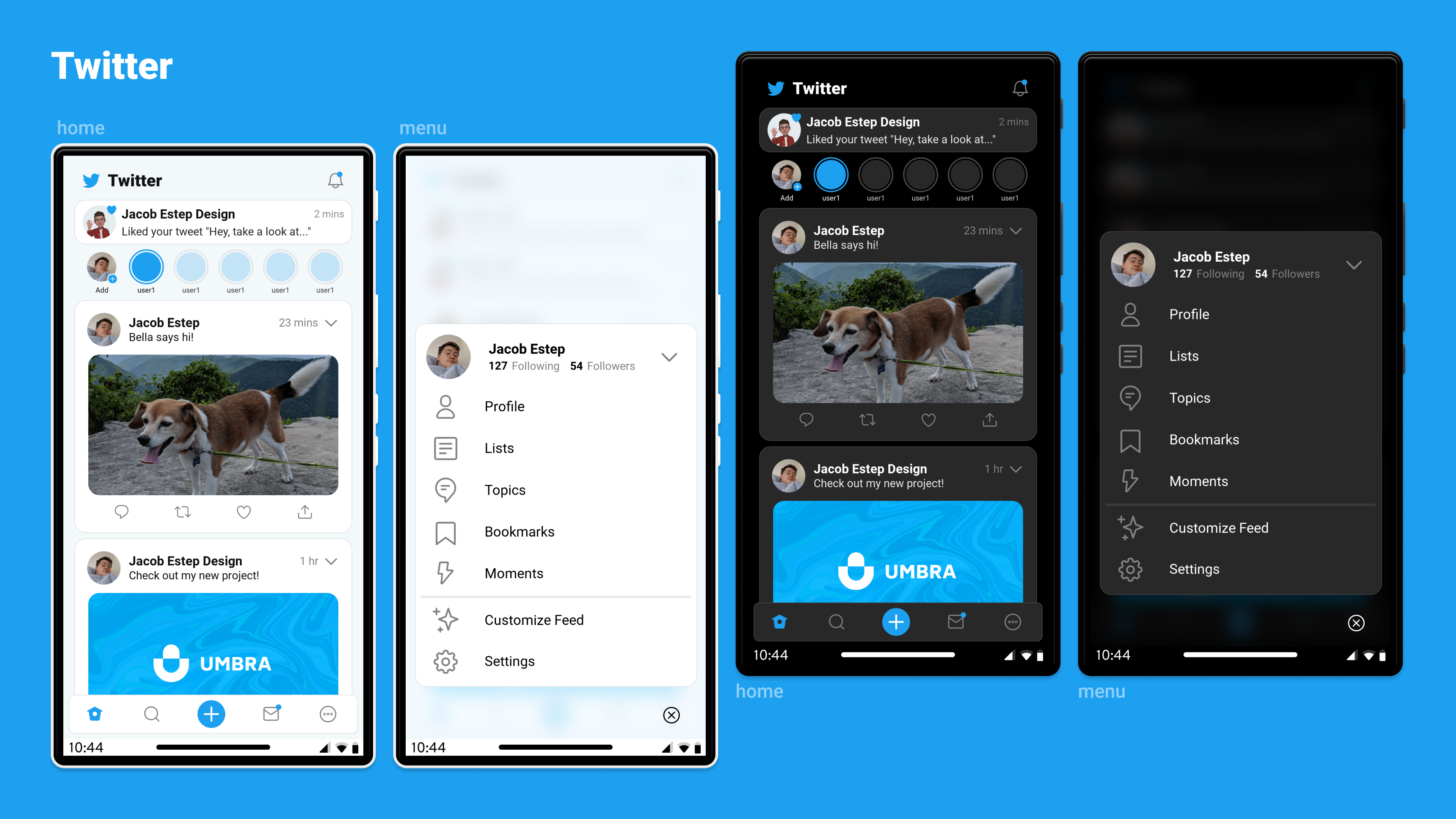 The Twitter home feed and menu, in light and dark modes