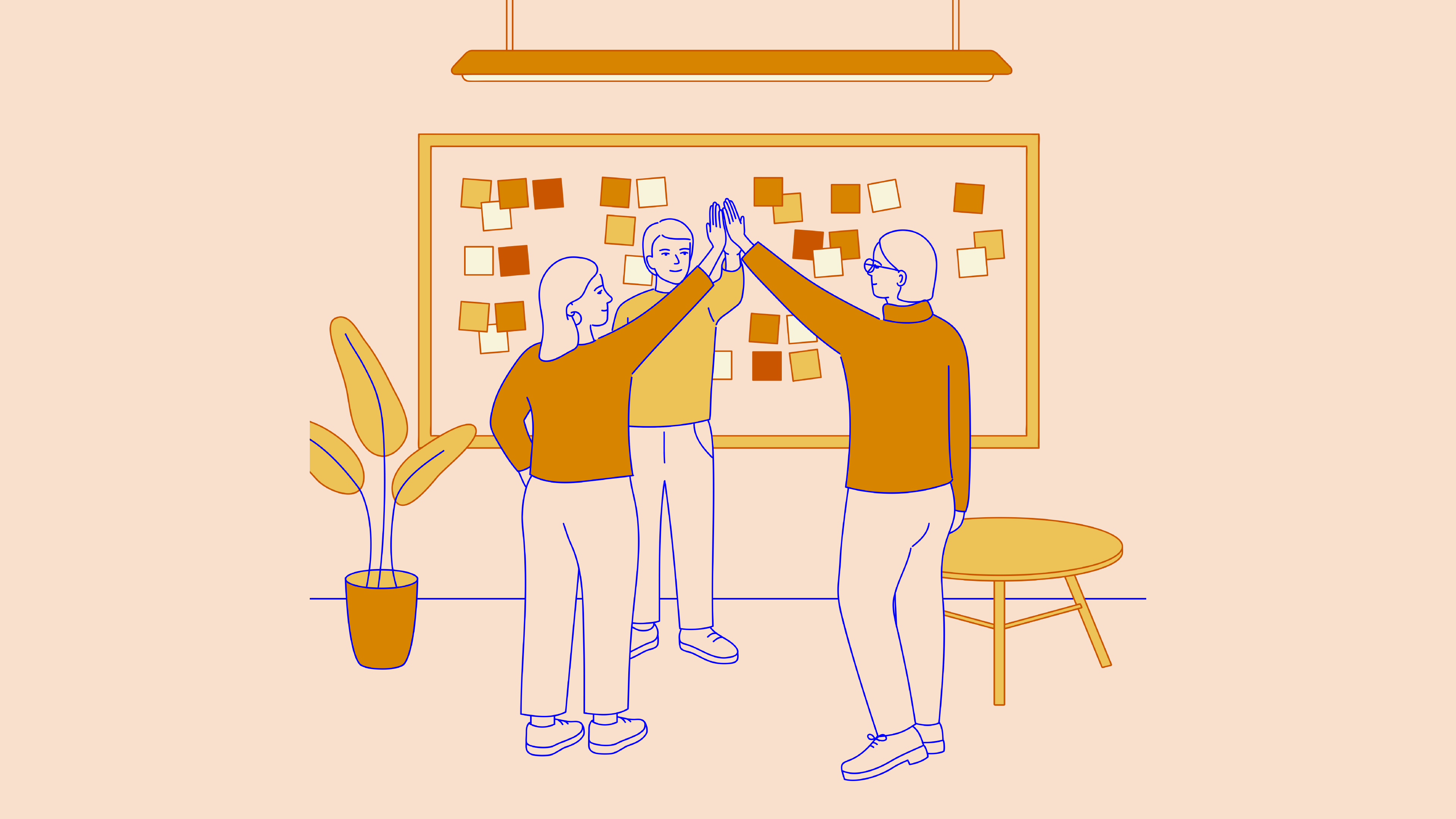 illustration of people doing a high-five with each other depicting success