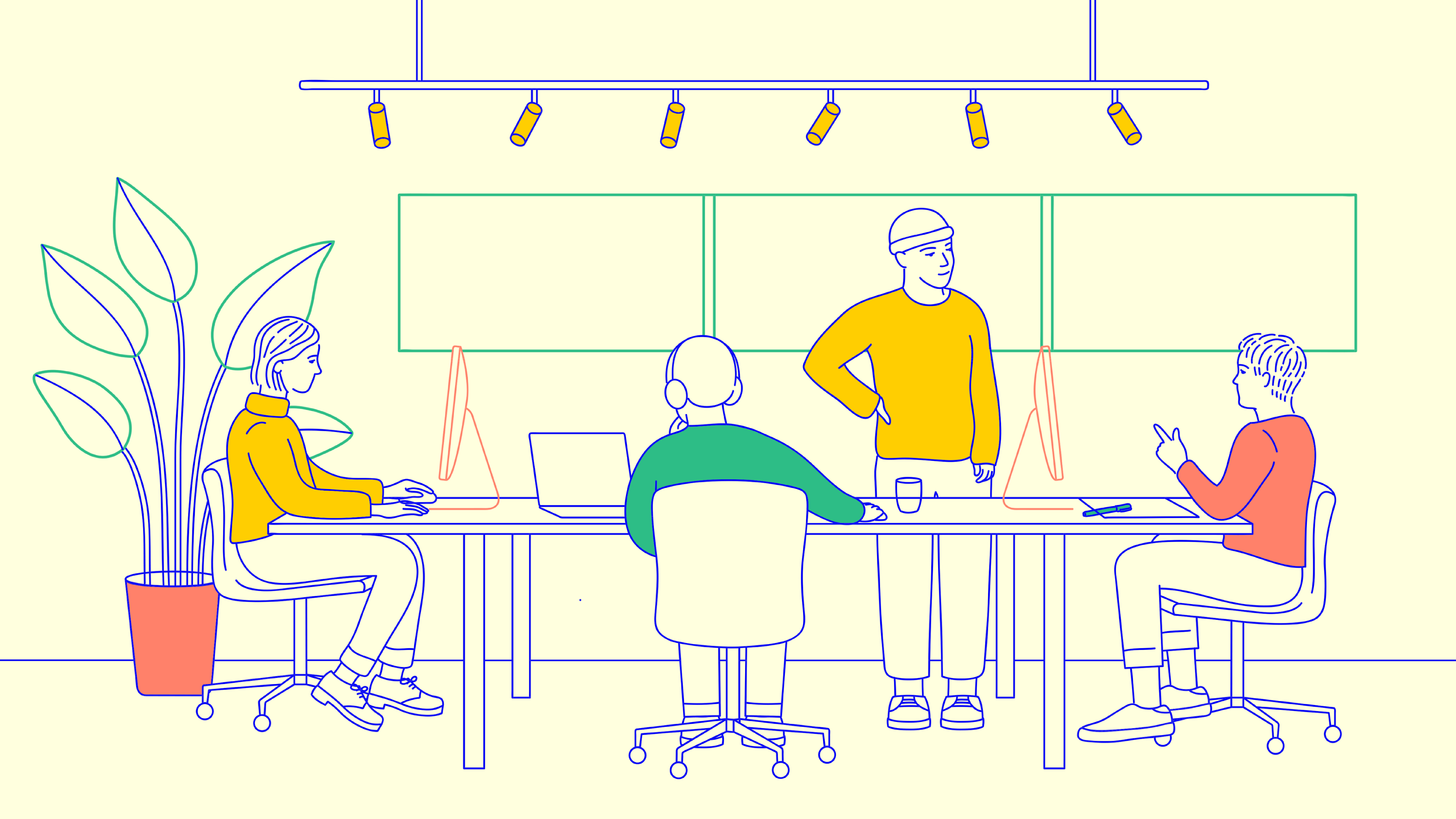 illustration of a round table discussion in a modern office setting