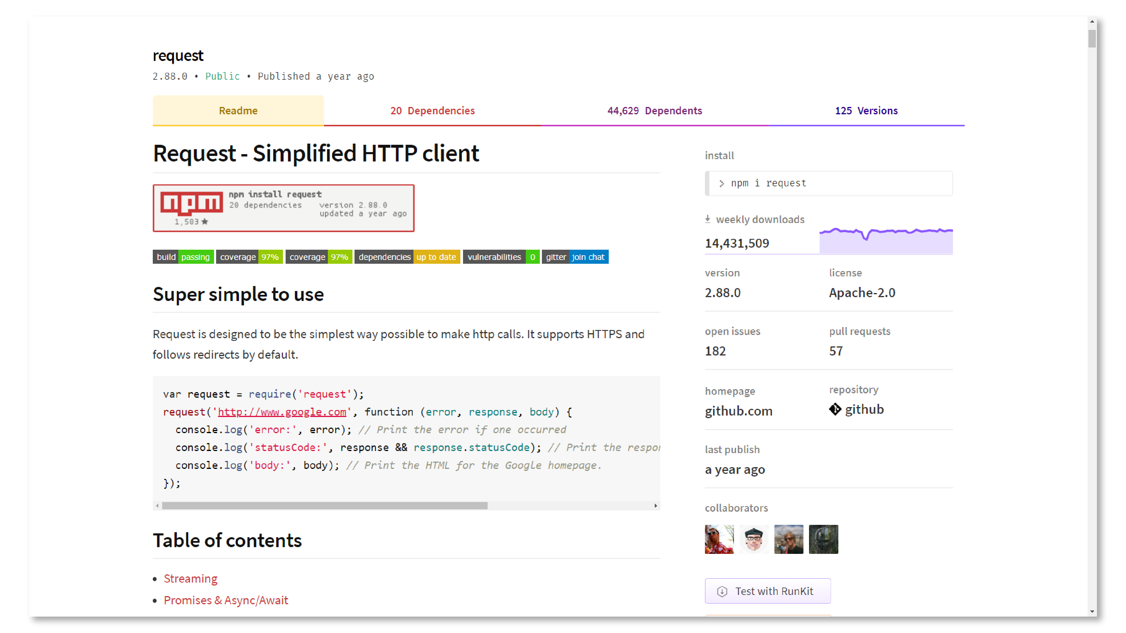 A screenshot of the 'request' npm package on npmjs.com.