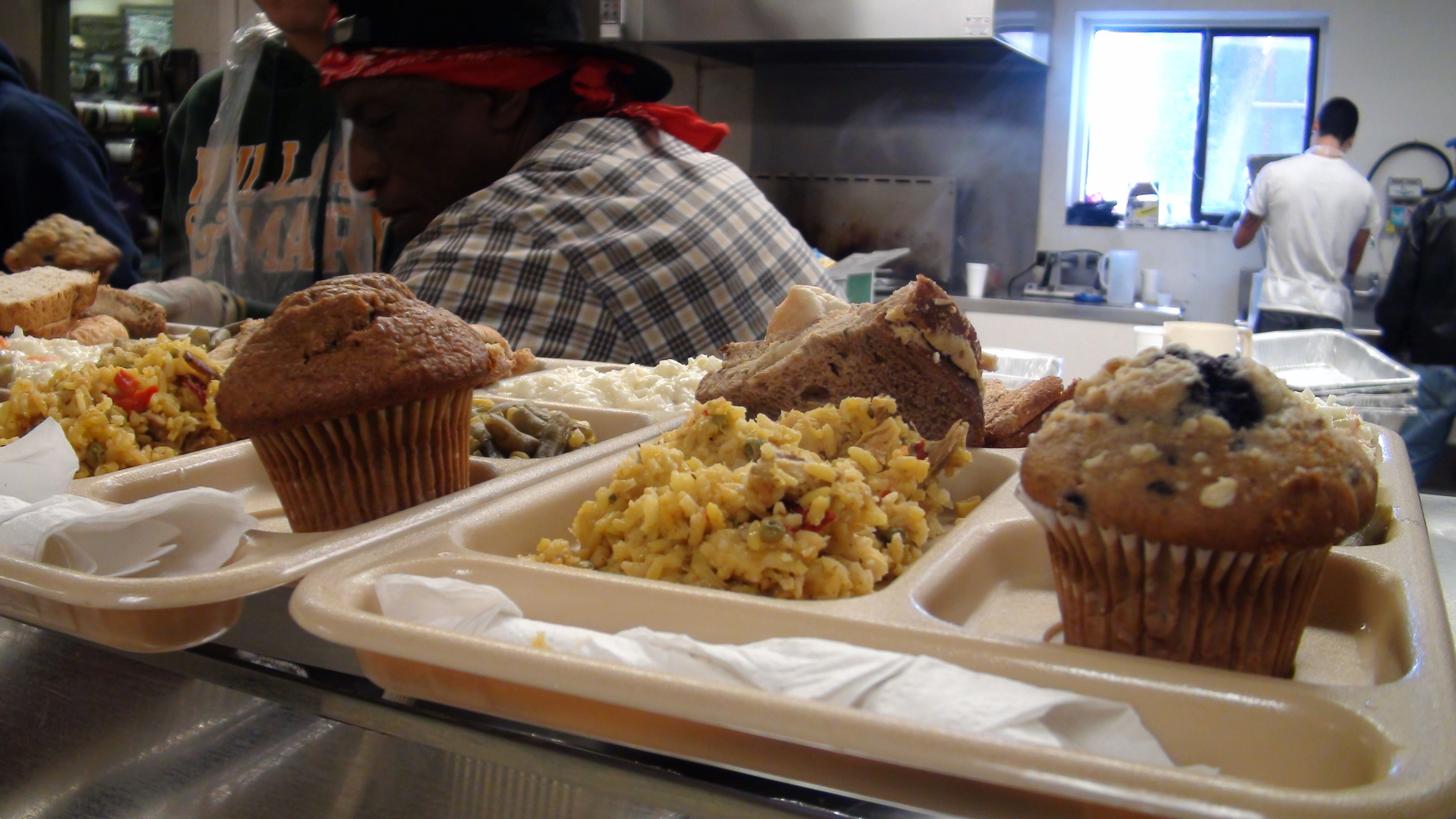 food on a tray at a soup kitchen