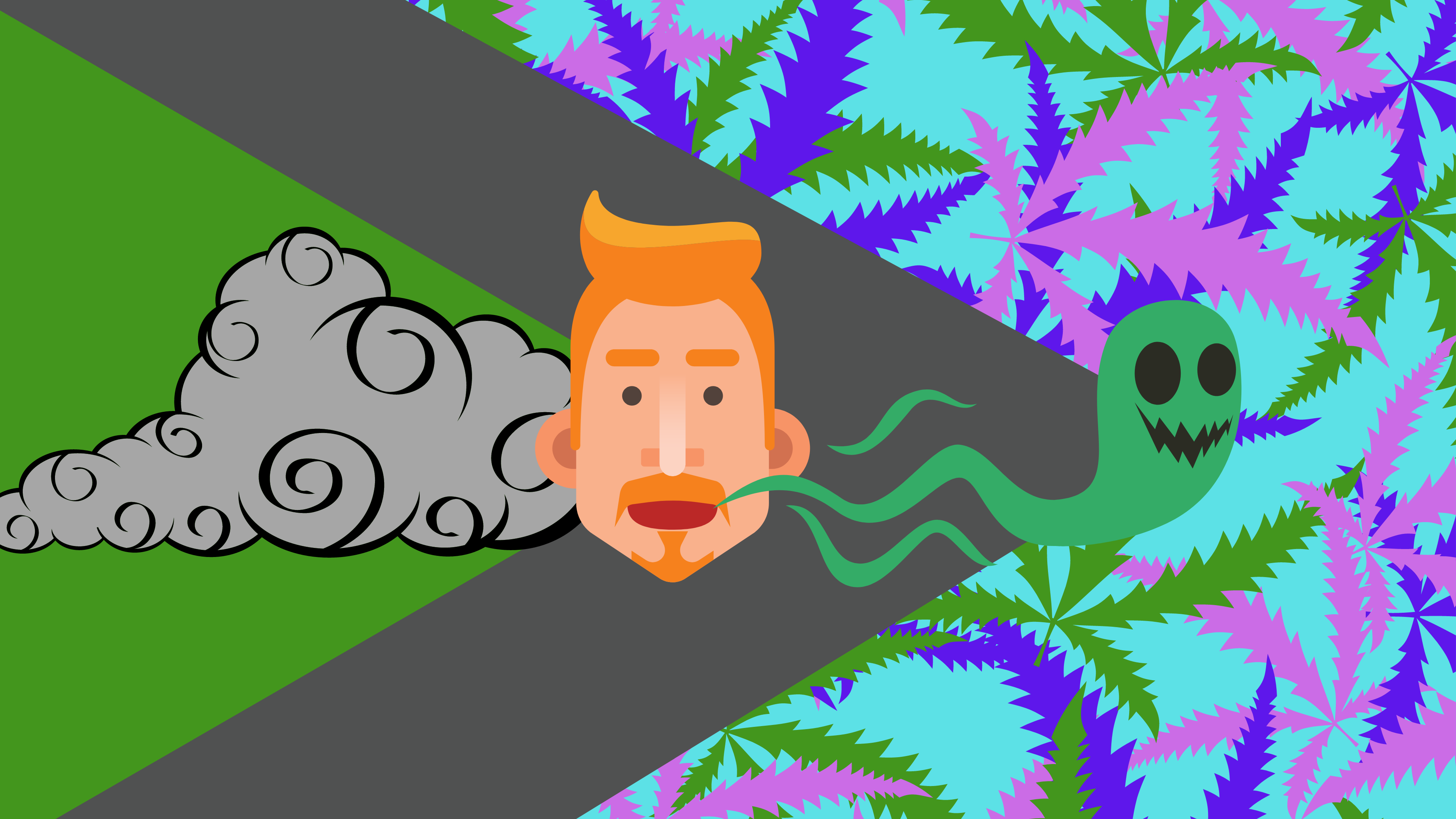 A man is exhaling marijuana smoke on a trippy colourful background.