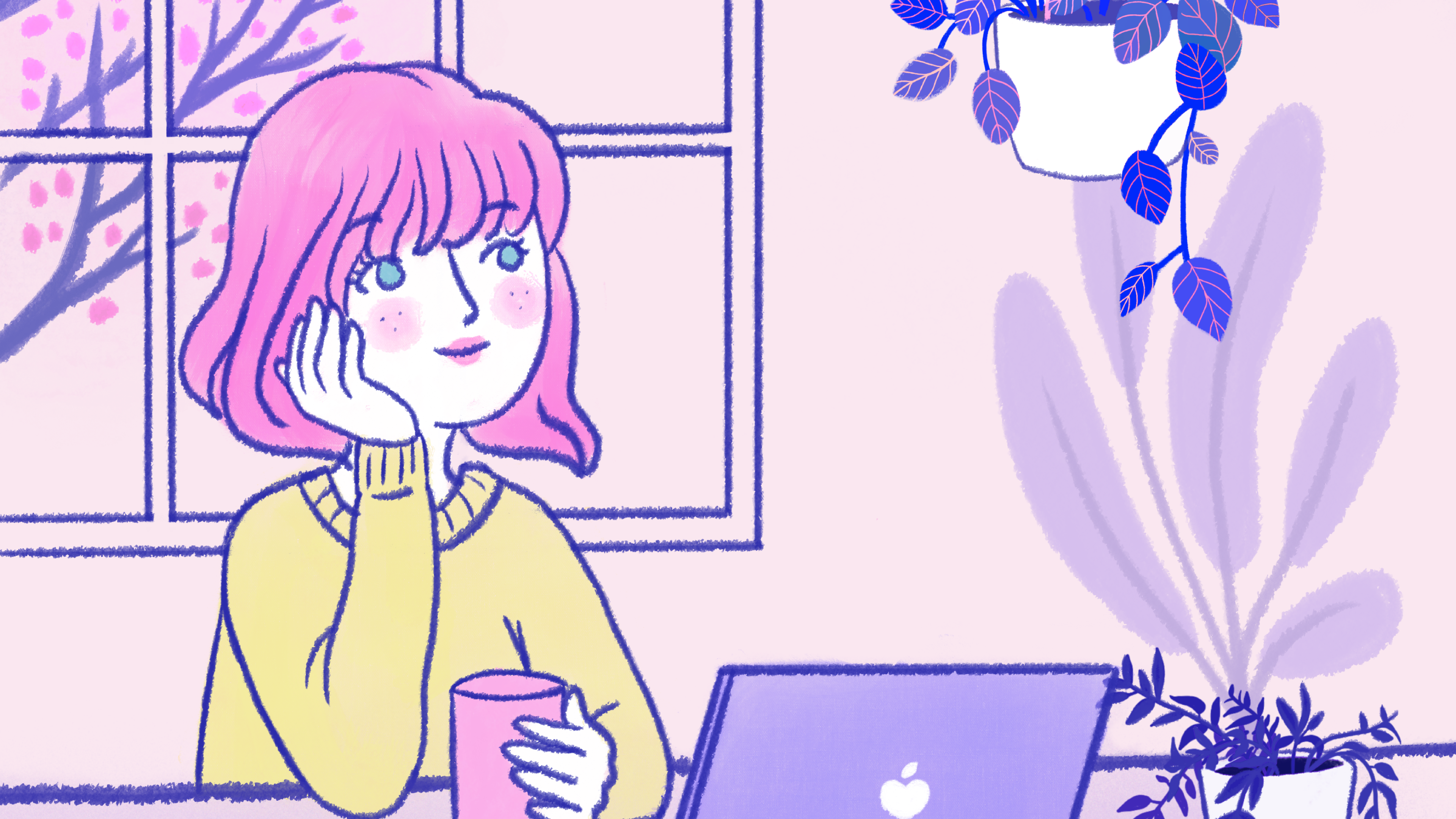 Drawing of a pink-haired person looking into the distance with a gentle smile, holding a cup, in front of an open laptop.