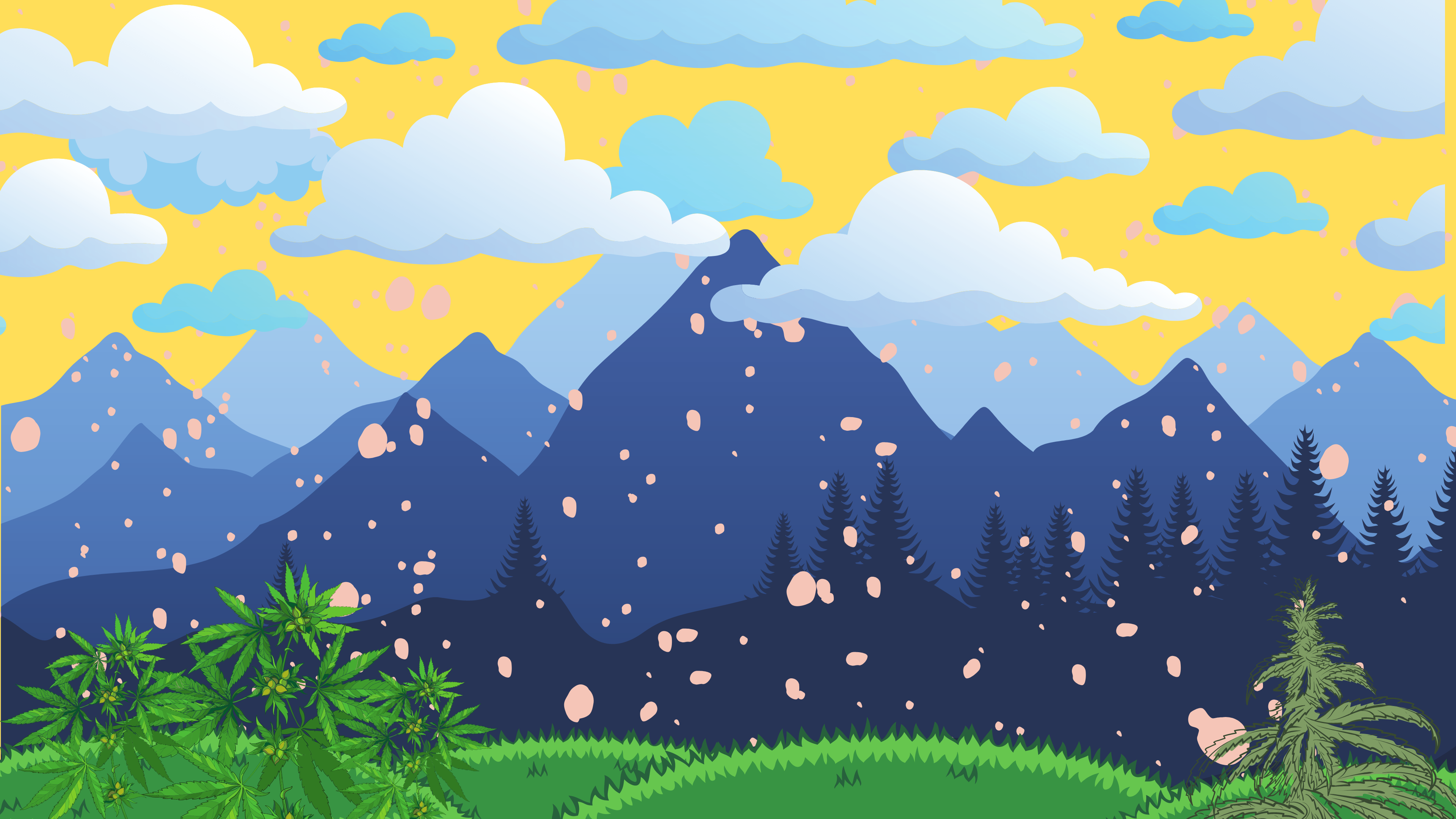 Grass with cannabis with mountains and clouds on a yellow background.