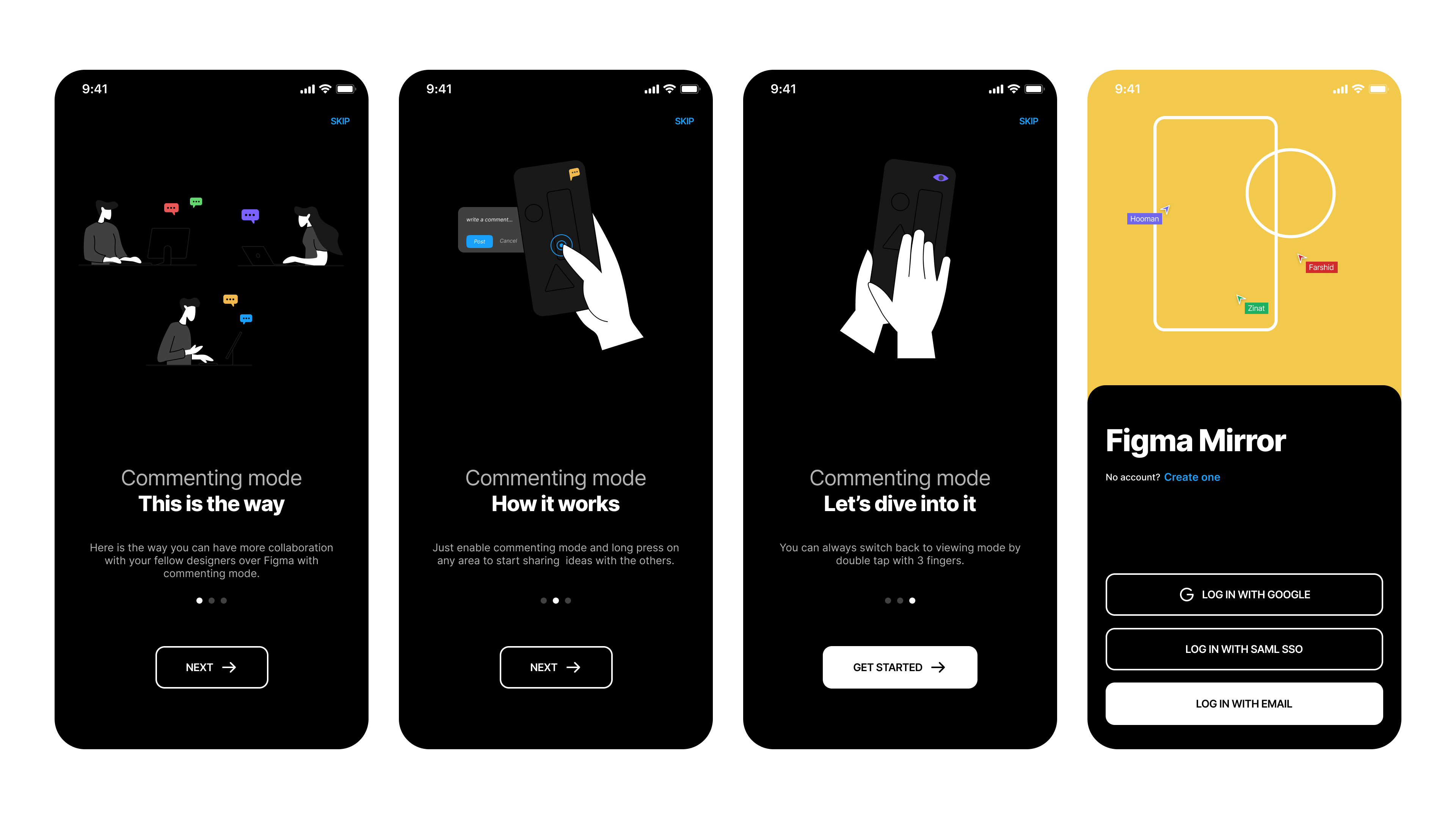 Onboarding and welcome screens of Figma Mirror Redesign