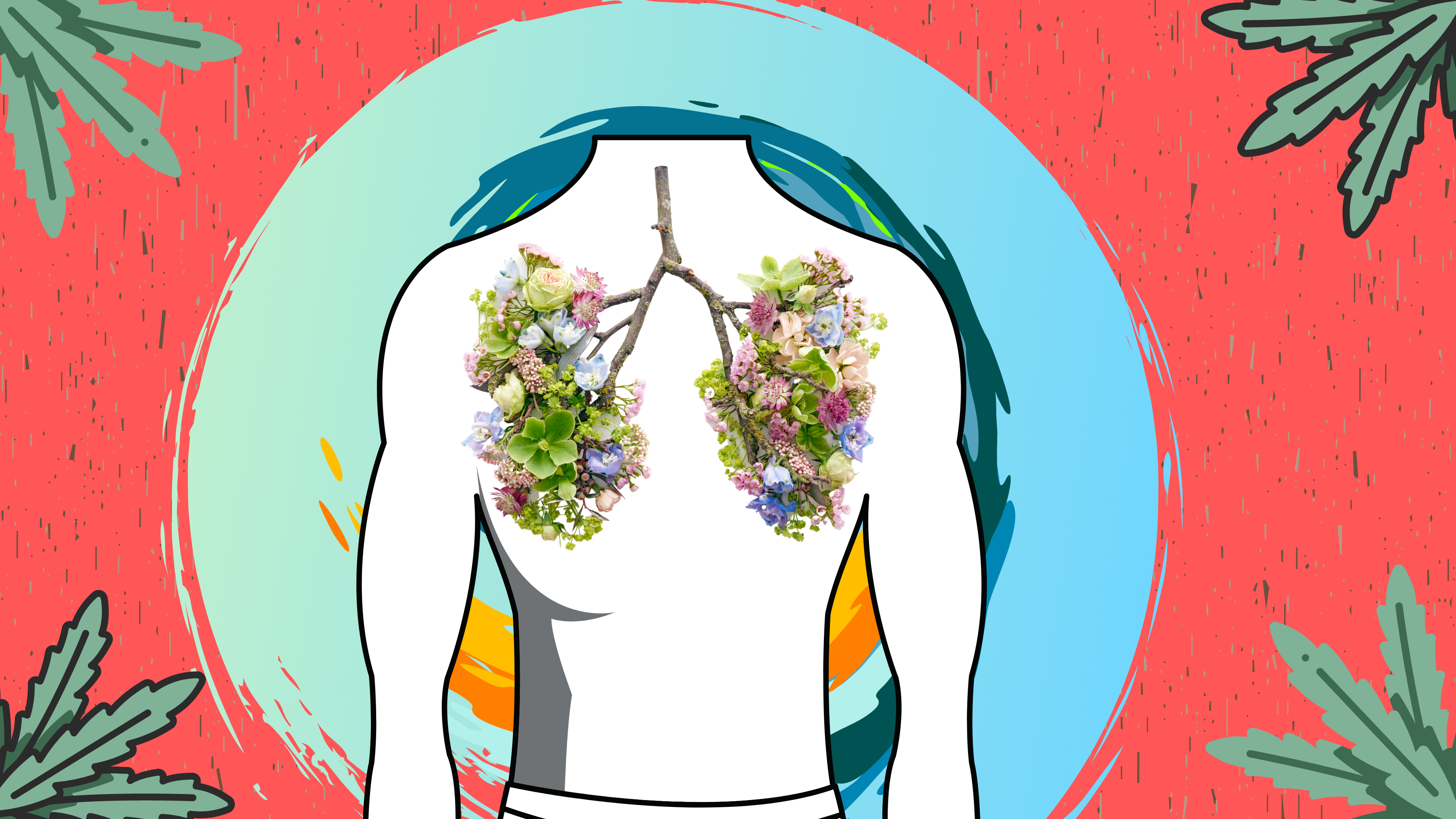 A human torso with flower lungs on a red and blue background. In the corners there are four plants.