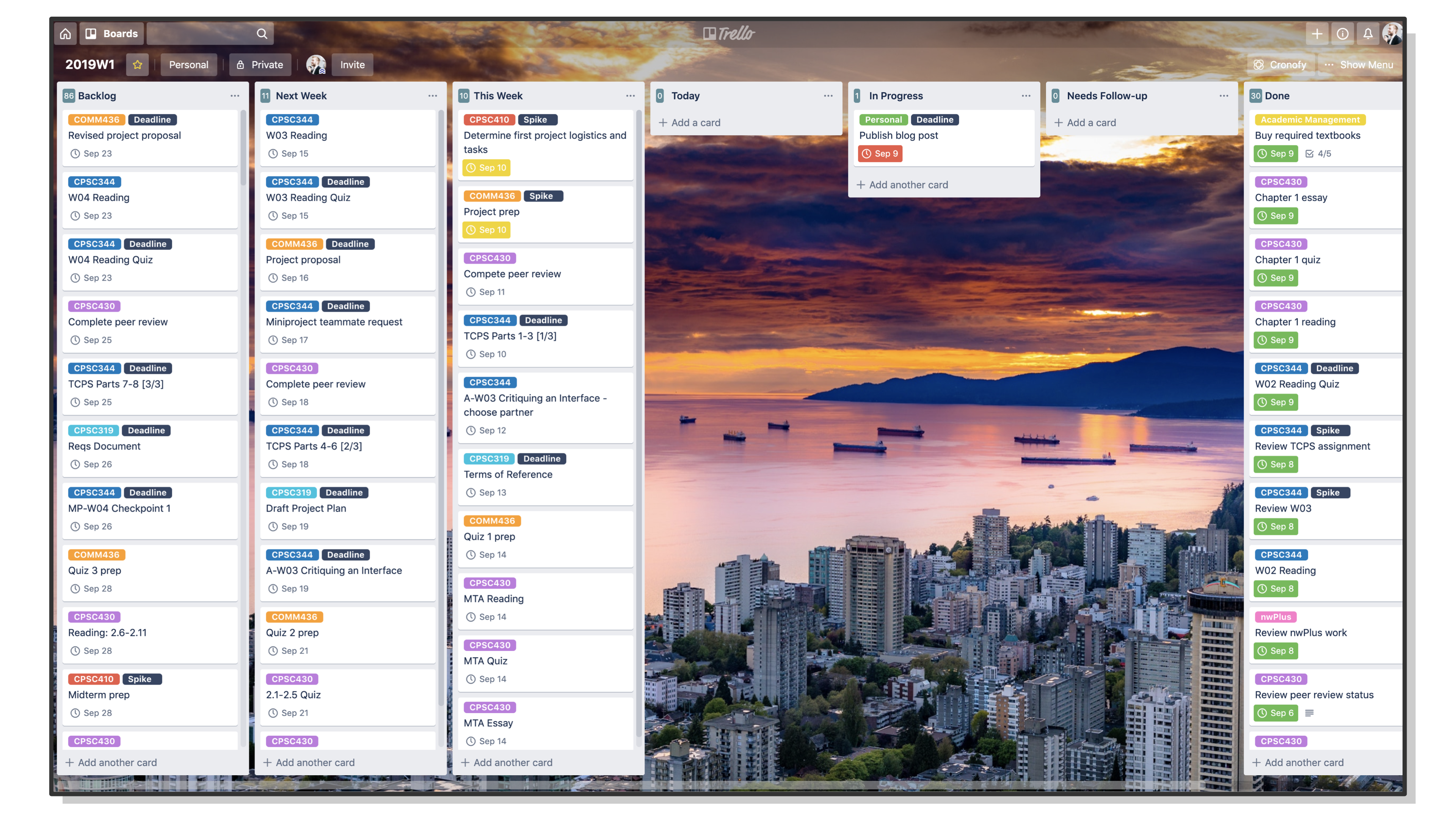 A screenshot of the board view in Trello