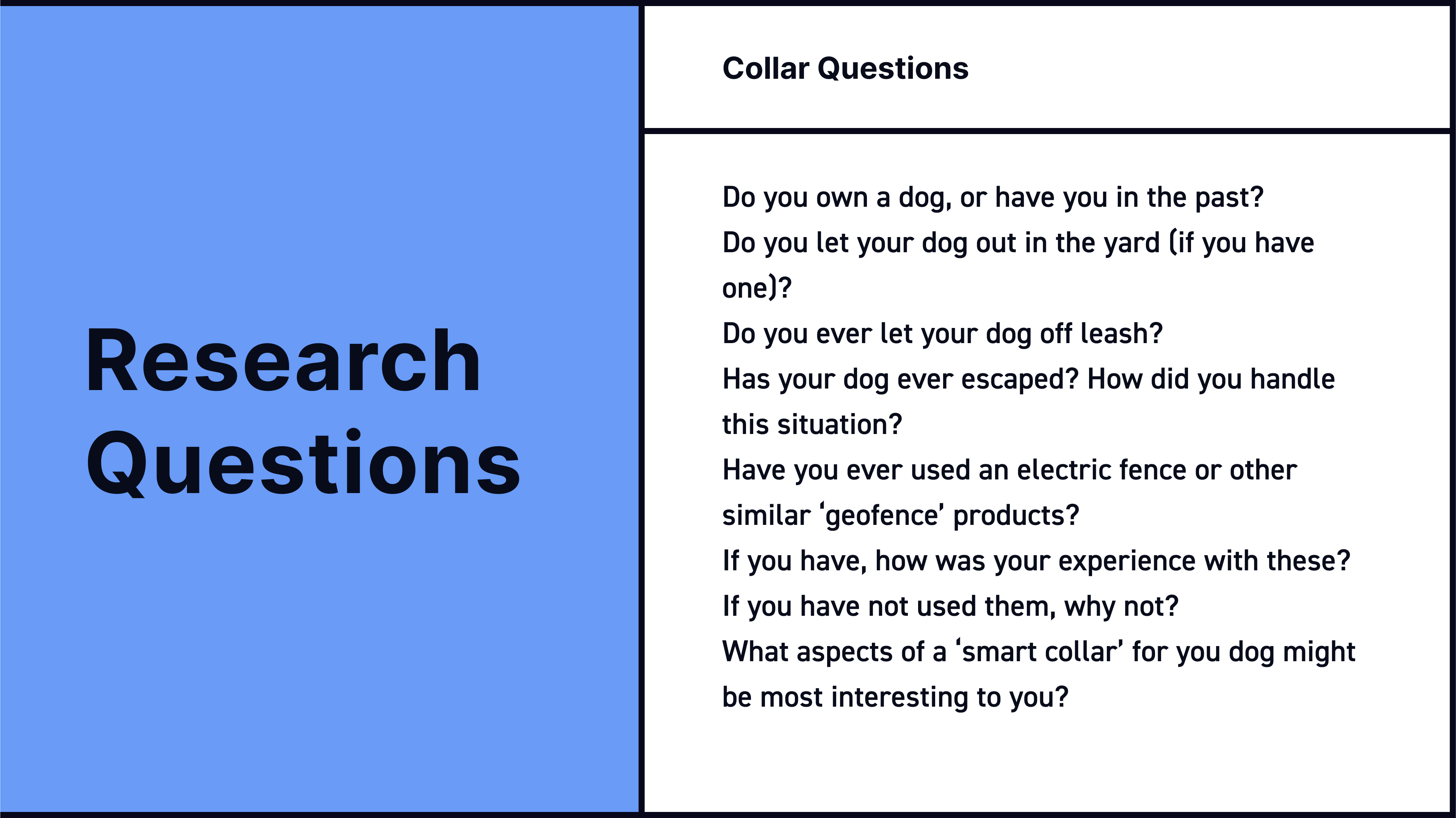 A set of user research questions about our project brief—an electric dog collar.