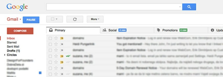 Wherever you are, you always know where to look to find left-side links in Gmail.