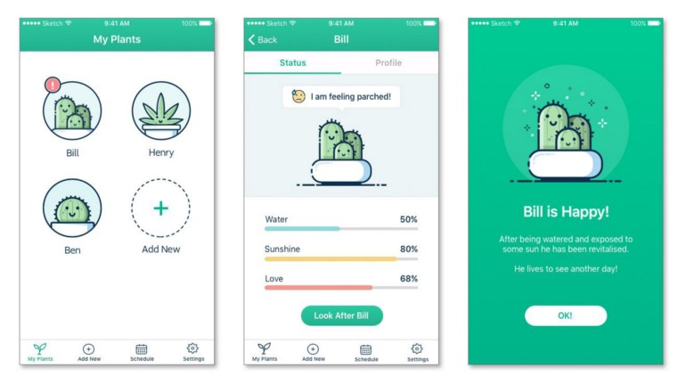 This plant-watering app concept uses a nice shade of green for its primary color, with blue, yellow, and red accents used in ways that will make sense to users. (by Amy Holley Hirst)