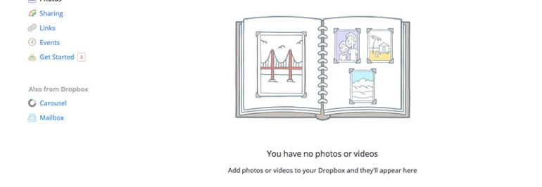 A nice illustration and a tip help new users get accustomed with Dropbox.