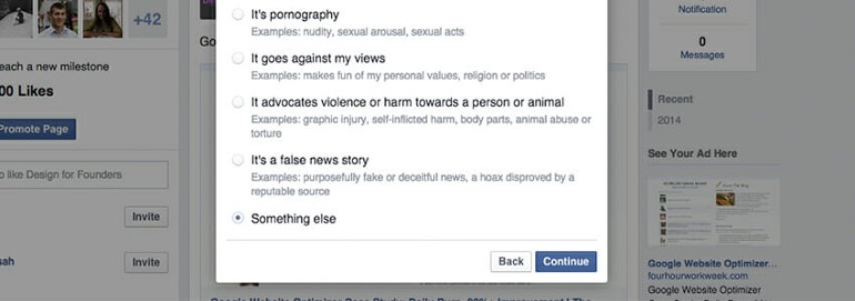 """When reporting a post, Facebook displays the """"Continue"""" button placed on the right-hand side and makes it more prominent than the secondary option """"Back""""."""