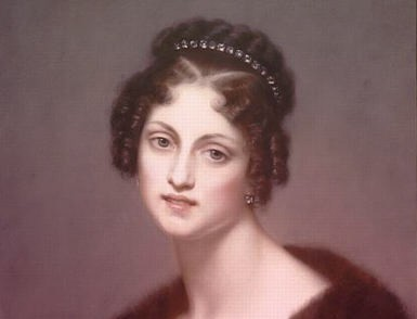 Dorothea, Duchesse de Dino wearing a fur shawl and a row of diamonds in her brown curly hair.