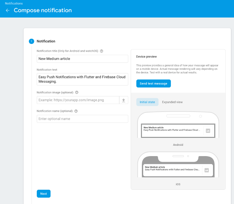Using push notifications in firebase console