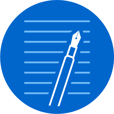 The PatternFly Medium submission logo—a white fountain pen laid across light blue lines, and a PatternFly blue background.
