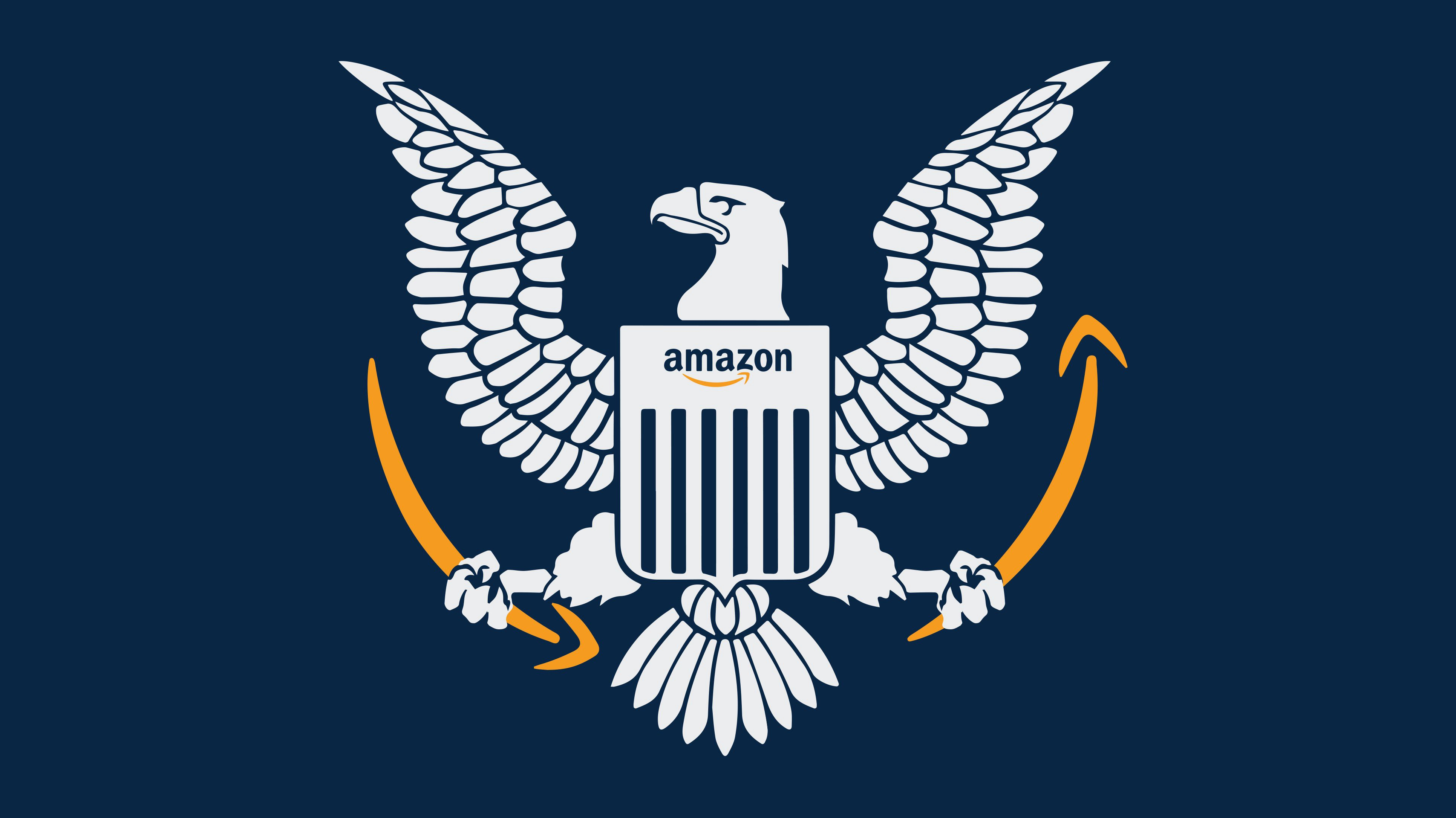 A logo echoing the US seal with an eagle on it. Its shield says Amazon and its talons hold the smiles on Amazon boxes.