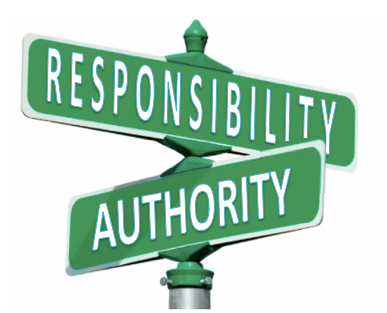 street sign — two roads — authority and responsibility