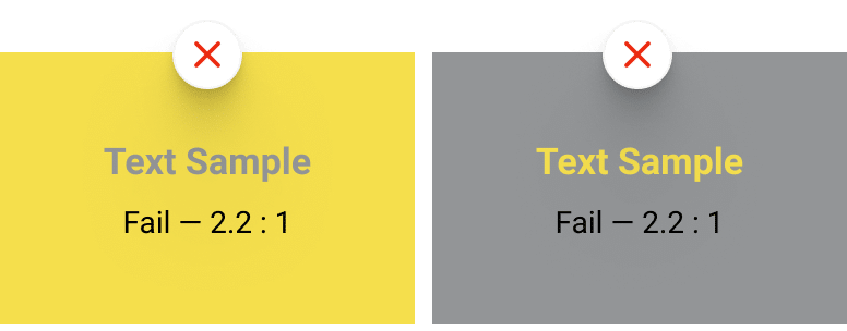 The yellow over the gray, or the gray over the yellow doesn't match the contrast requirements.